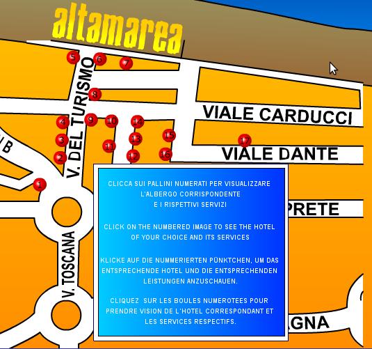 Basta guardare sulla mappa per capire quanto dista ciascun albergo convenzionato dal villaggio vacanze